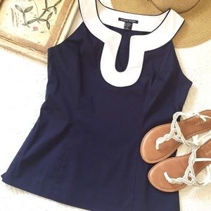 Boston Proper Navy Sleeveless Top